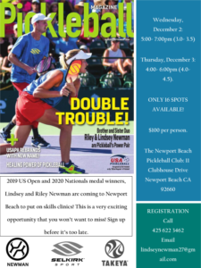 Pickleball Skills Clinics December 2020